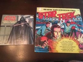 Original Star Wars activity book and Star Trek stories on vinyl