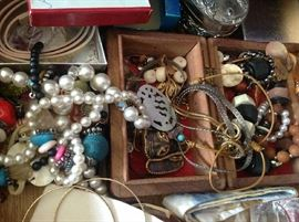 LARGE amount of costume jewelry with some sterling pieces.