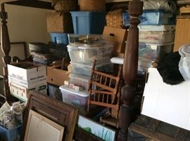 All these containers have vintage items for this sale! You will see more pictures as we work with the merchandise.