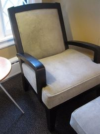 Suede Chair and  matching Foot Stool by McCreary Modern of North Carolina.