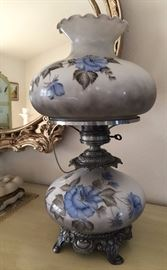 Vtg Lamps Painted Glass Globes and Shades