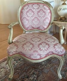 Arm Chairs (2) rose brocade padded, French Provincial
