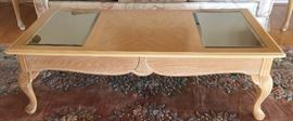 """Coffee Table 4'4""""X2'2"""" light wood & glass Chippendale style"""