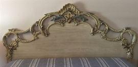 King Headboard ornate, antique white