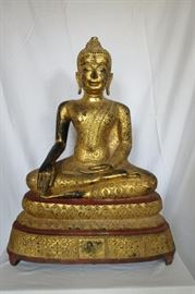 "Antique Gilt Sitting Buddha ~ 29.5"" tall The base measures 23"" x 13"" Weight is approx 107 lbs."
