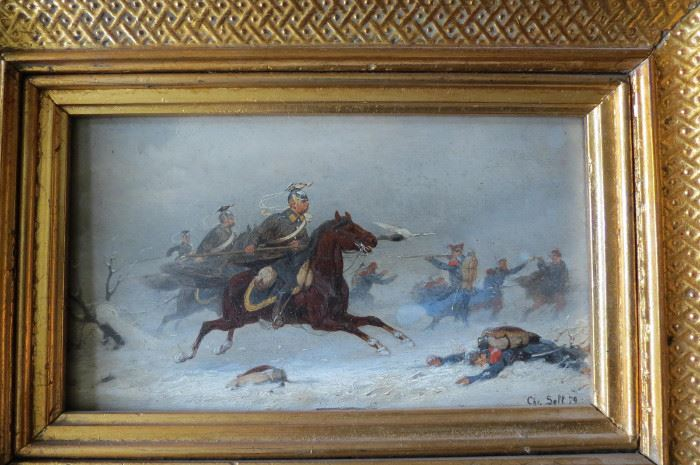 "Antique Christian Sell Oil Painting Prussian infantry (German, 1831-1883)... The total frame measurement is 10 1/2"" X 8"""