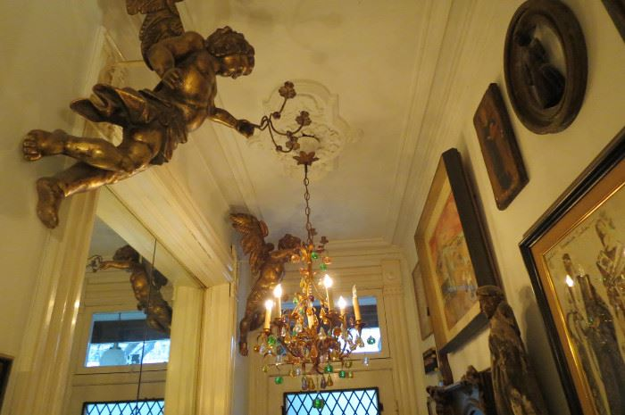Almost 3 Feet High. Italian Wood Cherub/Putti Candelabras