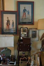 Antique Shaving Stand... Pair of Armand Dumaresq color lithograph