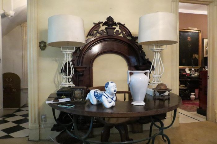 Curved Antique Forged Iron and Wood Desk