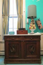 Victorian Marble Top Carved Door Cabinet