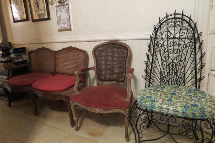 Vintage Cane Back & Bottom Love Seat and Chair.. Victorian Wire High Back Chair