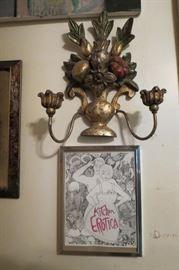 Italian Wood Carved Candelabra Sconce