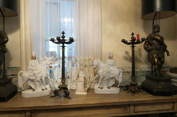 Pair Staffordshire Men on Horse.. French CandleSticks