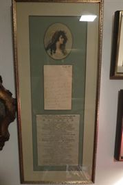 Sara Siddons The Theatre Royal, Covent Garden playlist and personal letter written by her.. Early 19th