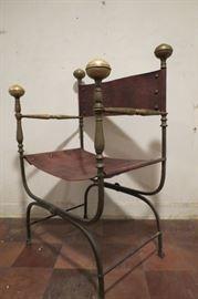 1930's Italian Savonarola Chair.. Iron and Leather