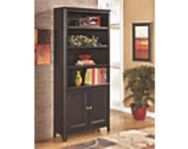 bookcase with doors, part of the Carlyle group from Ashley Furniture.Solid wood.