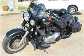 7 - 2013 Harley Fat Boy motorcycle, 5000 miles, one owner with detachable wind shield, engine guards, saddle bags, cobra slashcut mufflers