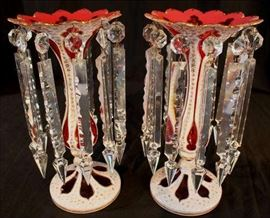 9 - Pair Victorian white cut to cranberry mantle lusters with gold decorations and beautiful cut prisms, 12.5 in. T, 6 in. Dia.