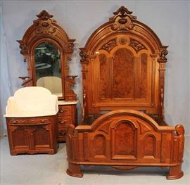 51 - Walnut Victorian 3 pc. Renaissance bedroom suit with wood carved pulls  original marble, bed - 8 ft. 6 in. T, 72 in. L 60 in. W., Dresser - 8 ft. 5 in. T, 48 in. W.
