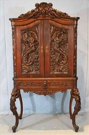 88 - Walnut Victorian wine cabinet with cupids and ladies, 69 in. T, 38 in. W, 18 in. D.