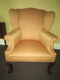Nice Wing back chair with ball and claw feet