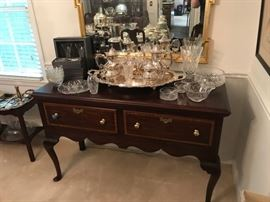 Server, silver-plate tea service, lots of Waterford, antique mirror, Henkel Harris Server