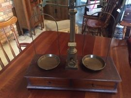 antique english scales with a separate box of weights