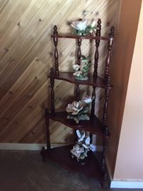 corner cabinet with china flowers