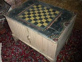 PRIMITIVE GAME TABLE ON CHEST