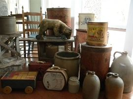 CROCKS, ANTIQUE BEAR PULL TOY, CHAIRS & MORE