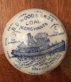 "Absolutely amazing! Excellent condition. Antique advertising paperweight. Stamped on bottom ""Brown Maxwell and Company, limited, Rochester Pennsylvania USA, Pat'd Sept. 5th, 1882"". Front has detailed image executed in cobalt blue, detailed manned tugboat advertising call for ""BD Wood and Brothers Coal Merchants  of New Orleans."