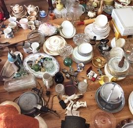 Glassware, dishes, pottery, antique and vintage utensils