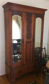 Antique two door oak armoire