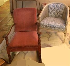 Antique rocker, chair with caned sides