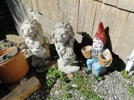 Cement lions, gnomes
