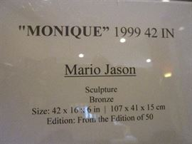 "Mario Jason, ""Monique"", bronze statue on marble.  42"" tall, signed.  #2 of 50."