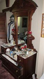 Walnut Marble Top Drop Center Dresser