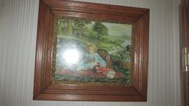 Early Childs Print in Oak Frame