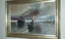 George wilking ca. 1906 Oil Canvas Maritime scene probably Lusitania on British Coast