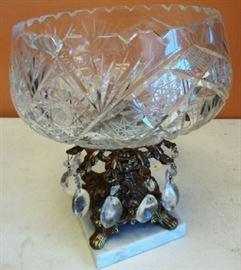 Vintage Cut Glass Pedestal Bowl