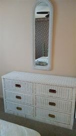 Wicker dresser with mirror