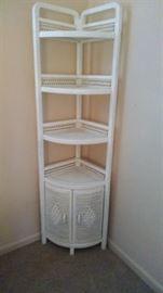 Wicker corner shelf