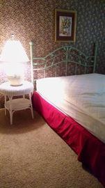 Queen bed with metal headboard
