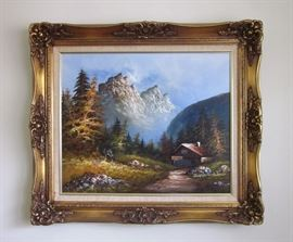 """Large original oil painting, mountain scene with cabin, signed, in beautiful carved frame. 31"""" wide, 27"""" tall"""