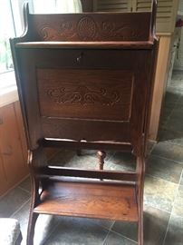 Antique oak drop front secretary desk
