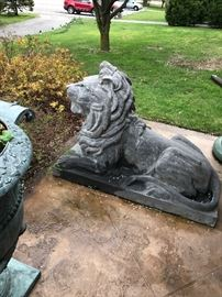 Pair  of Huge Carved Stone Lions