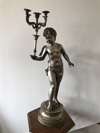 Two Pairs of Silvered Bronze Figural Candelabrums.