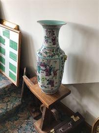 Pair of Large Oriental Painted Vases.