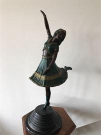 Painted Bronze Dancer Statue.