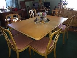 Vintage French Provincial table with matching upholstered chairs